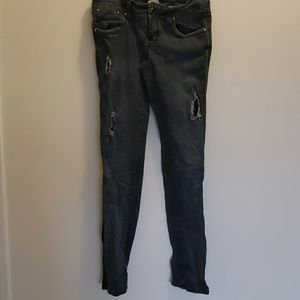 Hydraulic Distressed Skinny Jeans